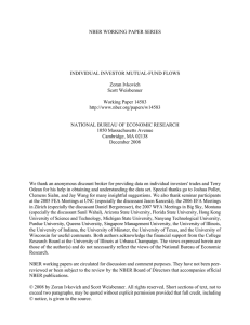 NBER WORKING PAPER SERIES INDIVIDUAL INVESTOR MUTUAL-FUND FLOWS Zoran Ivkovich Scott Weisbenner