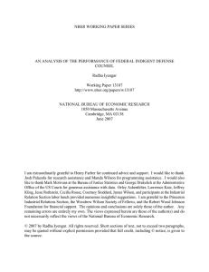 NBER WORKING PAPER SERIES COUNSEL Radha Iyengar