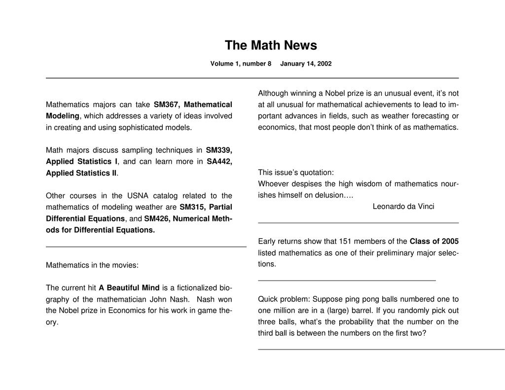The Math News