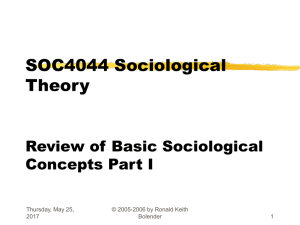 SOC4044 Sociological Theory Dr. Ronald Keith Bolender