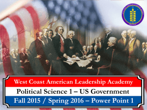 Political Science 1 – US Government West Coast American Leadership Academy