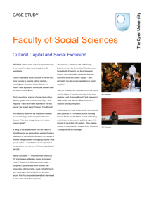 Faculty of Social Sciences Cultural Capital and Social Exclusion  CASE STUDY