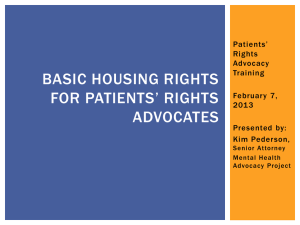 Basic Housing Rights for Patients* Rights Advocates
