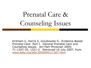 Prenatal Care & Counseling Issues
