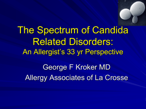 The Spectrum of Candida Related Disorders