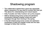 Shadowing program - Avoid Readmissions through Collaboration