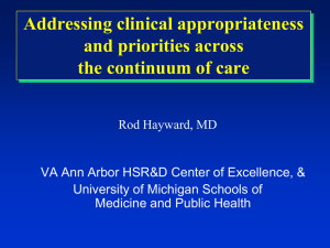 Addressing clinical appropriateness and priorities across the continuum of care