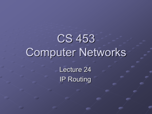 Lecture 24: IP Routing