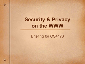 Security & Privacy on the WWW