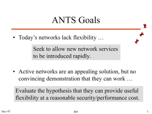 ANTS Goals - Networks and Mobile Systems