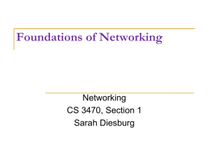 Foundations of Networking Networking CS 3470, Section 1 Sarah Diesburg