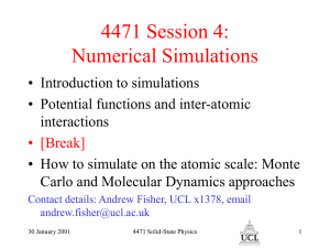 4471 Session 4: Numerical Simulations