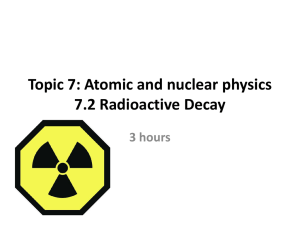 Topic 7: Atomic and nuclear physics 7.1 The atom