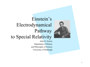 Einstein`s Electrodynamic Pathway to Special Relativity