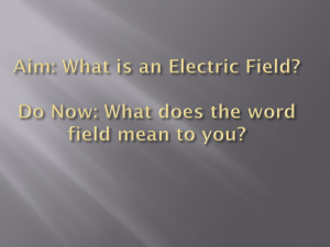 Aim: What is an Electric Field? Do Now: What does the word field