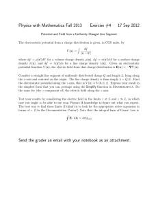 Physics with Mathematica Fall 2013 Exercise #4 17 Sep 2012