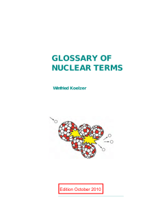 GLOSSARY OF NUCLEAR TERMS Edition October 2010 Winfried Koelzer