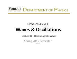 Waves & Oscillations Physics 42200 Spring 2015 Semester Lecture 31 – Electromagnetic Waves