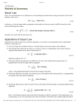 Gauss' Law Review & Summary