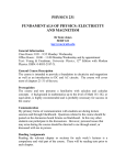 Physics 231: Fundamentals of Physics: Electricity and Magnetism