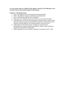 Study Guide 5 - Microbial Control Chpt. 5
