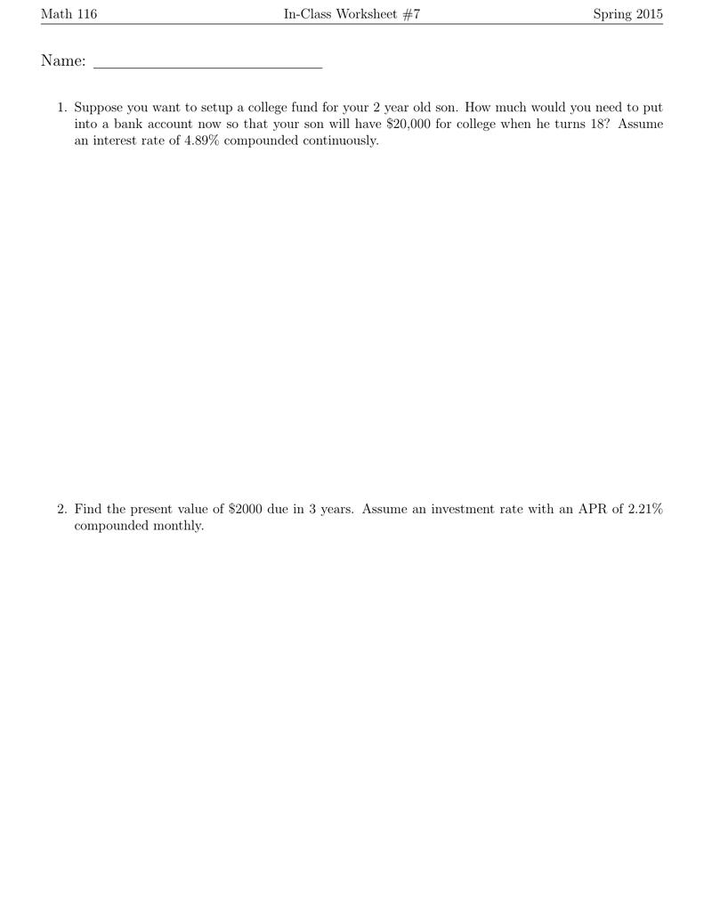 In Class Worksheet 7