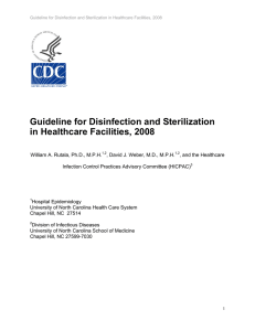 Guideline for disinfection and sterilization in healthcare facilities 2008