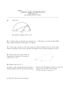 geometry, angle, and trig exercises