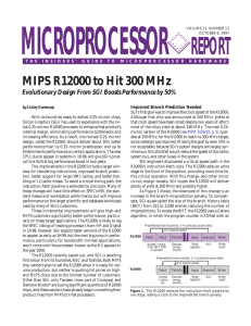 MIPS R12000 to Hit 300 MHz: 10/6/97