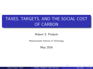 Taxes, targets, and the social cost of carbon