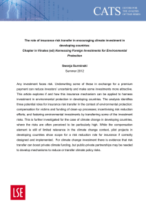 The role of insurance risk transfer in encouraging climate investment in developing countries
