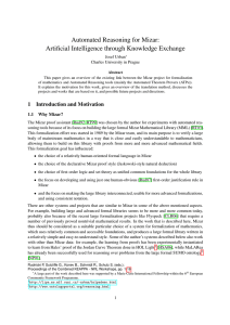 Automated Reasoning for Mizar: Artificial Intelligence through Knowledge Exchange