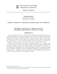 Memory Capacity of a Hebbian Learning Model with Inhibition