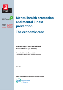 Mental Health Promotion and Prevention: The Economic Case