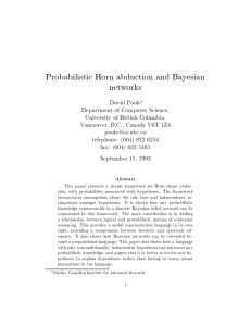 Probabilistic Horn abduction and Bayesian networks