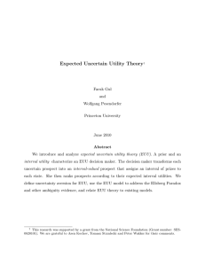 Expected Uncertain Utility Theory,