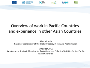 Overview of work in Pacific Countries and experience in other Asian countries