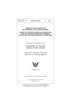 COMMITTEE ON FINANCE UNITED STATES SENATE CHARLES E