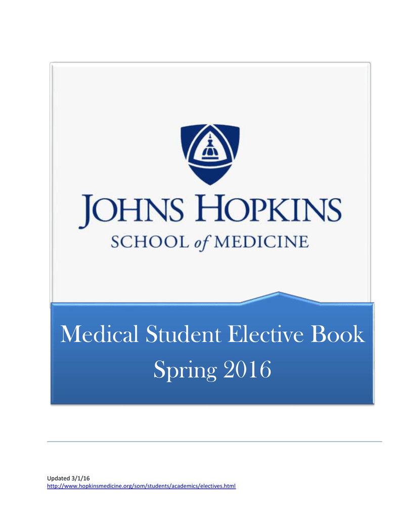 John Hopkins Research Electives For International Students