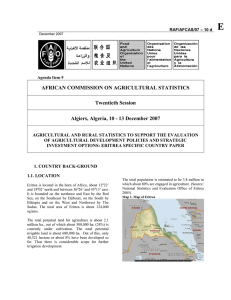Agricultural and rural statistics to support the evaluation of agricultural development policies and strategic investment options: Eritrea specific country paper