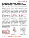 Mar 2002 Unique Instrumentation Amplifier Precisely Senses Differential Voltages from mV to V