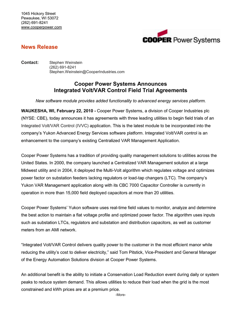 Cooper Power Systems Announces Integrated Volt/VAR Control