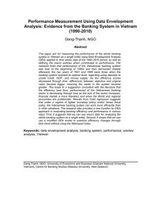 Performance Measurement Using Data Envelopment Analysis: Evidence From the Banking System in Vietnam (1990-2010)