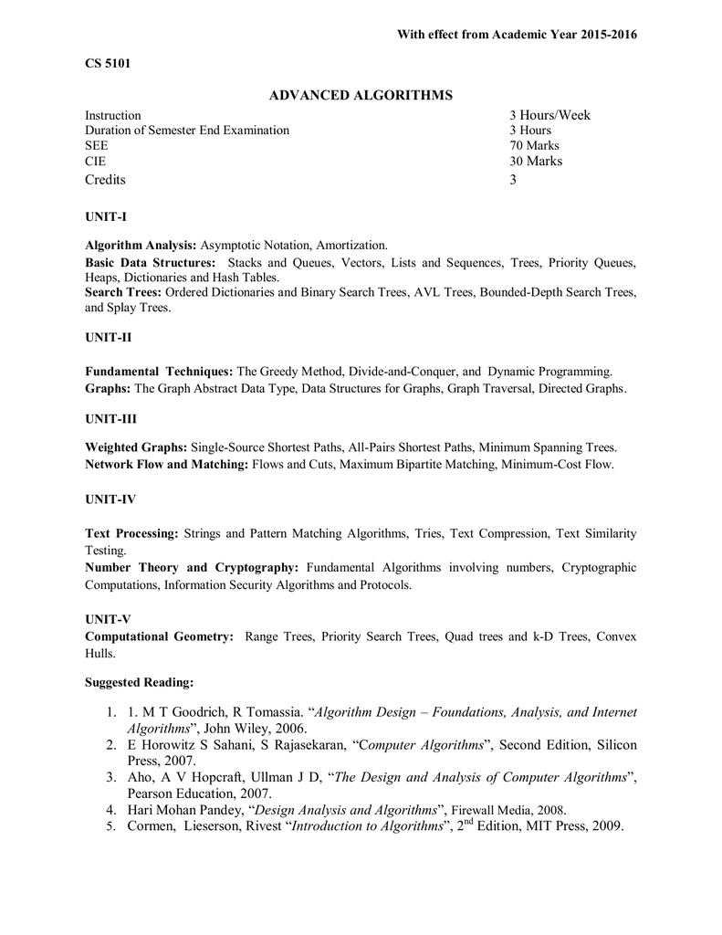 ADVANCED ALGORITHMS Hours/Week Marks Credits