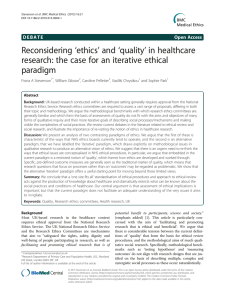 'ethics' and 'quality' in healthcare Reconsidering paradigm