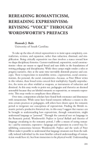 "REREADING ROMANTICISM, REREADING EXPRESSIVISM: REVISING ""VOICE"" THROUGH WORDSWORTH'S PREFACES"