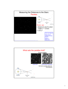Measuring the Distances to the Stars: Parallax What sets the parallax limit?