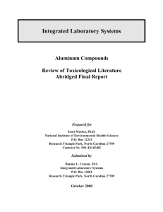 Integrated Laboratory Systems Aluminum Compounds Review of Toxicological Literature Abridged Final Report