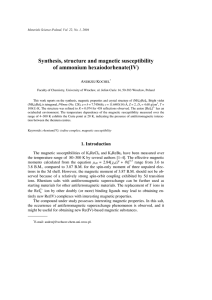 Synthesis, structure and magnetic susceptibility of ammonium hexaiodorhenate(IV) A K