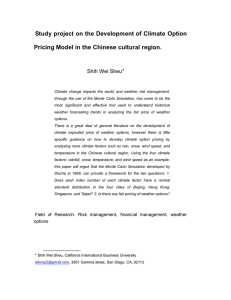 Study project on the Development of Climate Option Pricing Model in the Chinese cultural region: